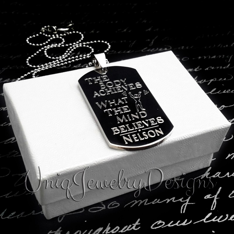 personalized motivational fitness dog tag uniqjewelrydesigns