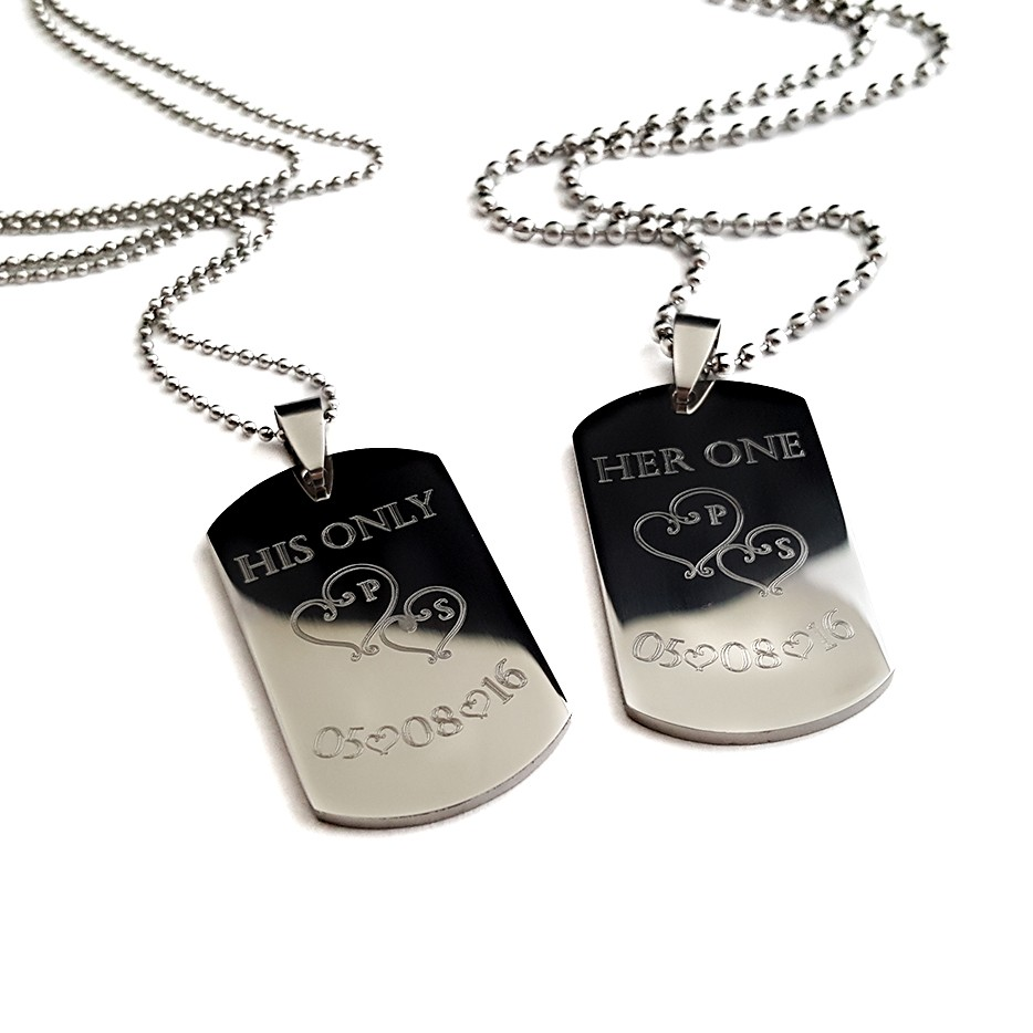 Her King, My Queen Mini Dog Tags Necklace Set - UniqJewelryDesigns